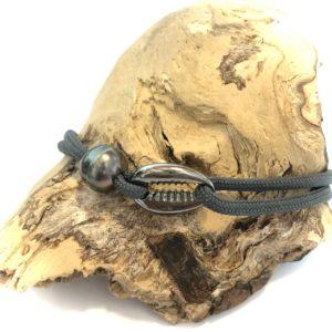 Bracelet homme perle de Tahiti et cauri